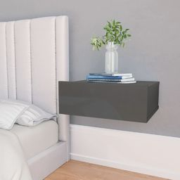 vidaXL Wisząca szafka nocna, szara, wysoki połysk, 40x30x15 cm (800322) - 800322