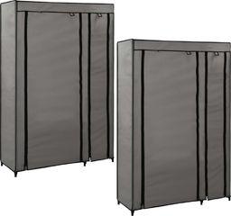 vidaXL Składane szafy, 2 szt., szare, 110 x 45 x 175 cm, tkanina