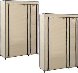 vidaXL Składane szafy, 2 szt., kremowe, 110 x 45 x 175 cm, tkanina