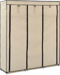 vidaXL Szafa z przegrodami i drążkami, kremowa, 150x45x175 cm, tkanina