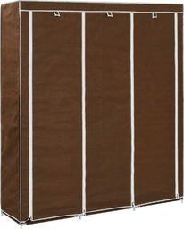 vidaXL Szafa z przegrodami i drążkami, brązowa, 150x45x175 cm, tkanina
