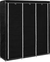 vidaXL Szafa z przegrodami i drążkami, czarna, 150x45x175 cm, tkanina