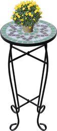 vidaXL Stolik boczny z mozaikowym blatem, zielono-biały
