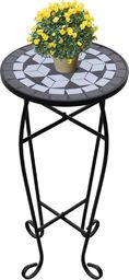 vidaXL Kwietnik, stolik z mozaikowym biało-czarnym blatem