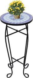vidaXL Kwietnik, stolik z mozaikowym biało-niebieskim blatem