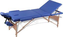 vidaXL Niebieski składany stół do masażu 3 strefy z drewnianą ramą