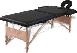 vidaXL Czarny składany stół do masażu 2 strefy z drewnianą ramą