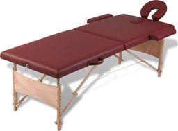 vidaXL Czerwony składany stół do masażu 2 strefy z drewnianą ramą