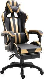 Fotel vidaXL z podnóżkiem złoty (20218)