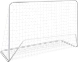 vidaXL Bramka piłkarska z siatką, 182 x 61 x 122 cm, stalowa, biała