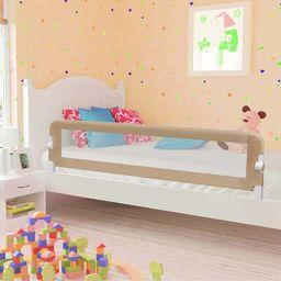 vidaXL Barierka do łóżeczka dziecięcego, taupe, 180x42 cm, poliester