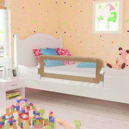 vidaXL Barierka do łóżeczka dziecięcego, taupe, 120x42 cm, poliester