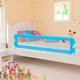 vidaXL Barierka do łóżeczka dziecięcego, niebieska 180x42 cm poliester