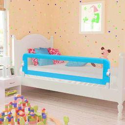 vidaXL Barierka do łóżeczka dziecięcego, niebieska 120x42 cm poliester