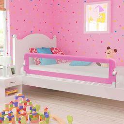 vidaXL Barierka do łóżeczka dziecięcego, różowa, 180x42 cm, poliester