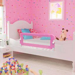 vidaXL Barierka do łóżeczka dziecięcego, różowa, 120x42 cm, poliester
