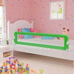 vidaXL Barierka do łóżeczka dziecięcego, zielona, 180x42 cm, poliester