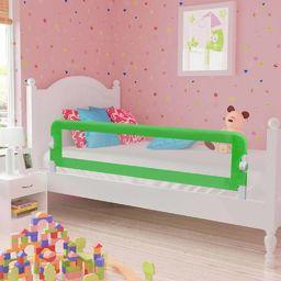 vidaXL Barierka do łóżeczka dziecięcego, zielona, 120x42 cm, poliester