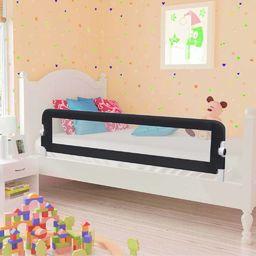 vidaXL Barierka do łóżeczka dziecięcego, szara, 150x42 cm, poliester