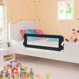 vidaXL Barierka do łóżeczka dziecięcego, szara, 102x42 cm, poliester