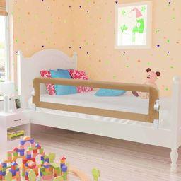 vidaXL Barierka do łóżeczka dziecięcego, taupe, 150x42 cm, poliester