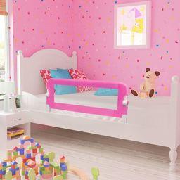 vidaXL Barierka ochronna do łóżka, 102 x 42 cm, różowa