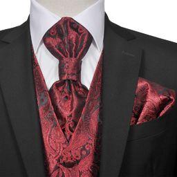 vidaXL Męska kamizelka ślubna z zestawem, wzór paisley, 54, burgund