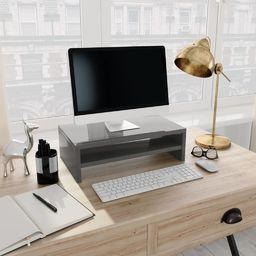 vidaXL Podstawka pod monitor, wysoki połysk, szary, 42x24x13 cm