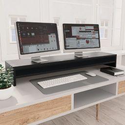 vidaXL Podstawka pod monitor, czarna, 100x24x13 cm, płyta wiórowa