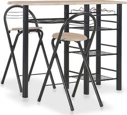 vidaXL 3-częściowy zestaw mebli barowych z półkami, drewno i stal