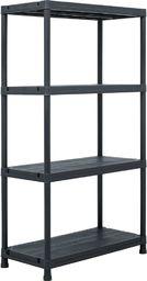 vidaXL Regał magazynowy, czarny, 100 kg, 60x30x138 cm, plastikowy
