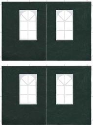 vidaXL Ścianki boczne namiotu, 2 szt., z suwakiem, PE, zielone
