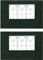 vidaXL Ścianki boczne do namiotu, 2 szt., z oknem, PE, zielone