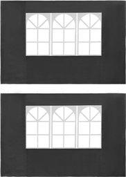 vidaXL Ścianki boczne do namiotu, 2 szt., z oknem, PE, antracytowe
