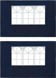 vidaXL Ścianki boczne namiotu, 2 szt., z oknem, PE, niebieskie