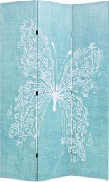 vidaXL Składany parawan, 120x170 cm, niebieski z motylem