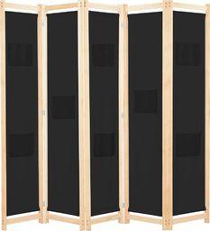 vidaXL Parawan 5-panelowy, czarny, 200 x 170 x 4 cm, tkanina