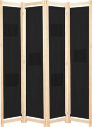 vidaXL Parawan 4-panelowy, czarny, 160x170x4 cm, tkanina