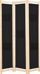 vidaXL Parawan 3-panelowy, czarny, 120x170x4 cm, tkanina