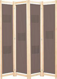 vidaXL Parawan 4-panelowy, brązowy, 160x170x4 cm, tkanina