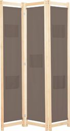 vidaXL Parawan 3-panelowy, brązowy, 120x170x4 cm, tkanina