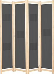 vidaXL Parawan 4-panelowy, szary, 160x170x4 cm, tkanina