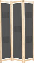 vidaXL Parawan 3-panelowy, szary, 120x170x4 cm, tkanina