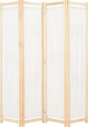 vidaXL Parawan 4-panelowy, kremowy, 160x170x4 cm, tkanina