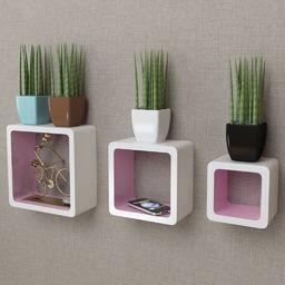 vidaXL 3 biało różowe półki ozdobne MDF Cube