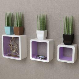 vidaXL 3 biało fioletowe półki ozdobne MDF Cube