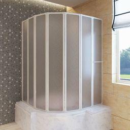 vidaXL Kabina prysznicowa ścienna, parawan na wannę (140 x 168 cm), składana