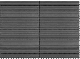 vidaXL Płytki tarasowe z WPC, 60x30 cm, 6 szt., 1 m, szare