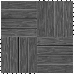vidaXL Płytki tarasowe tłoczone, WPC, 11 szt., 30x30 cm, 1 m, czarne