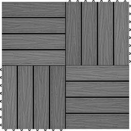 vidaXL Płytki tarasowe tłoczone, WPC, 11 szt., 30x30 cm, 1 m, szare